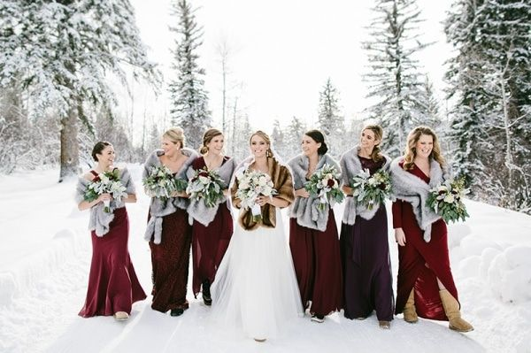 Burgundy Bridesmaid Dress for Winter Weddings