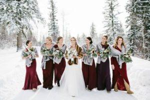 Burgundy Bridesmaid Dress for Winter Weddings